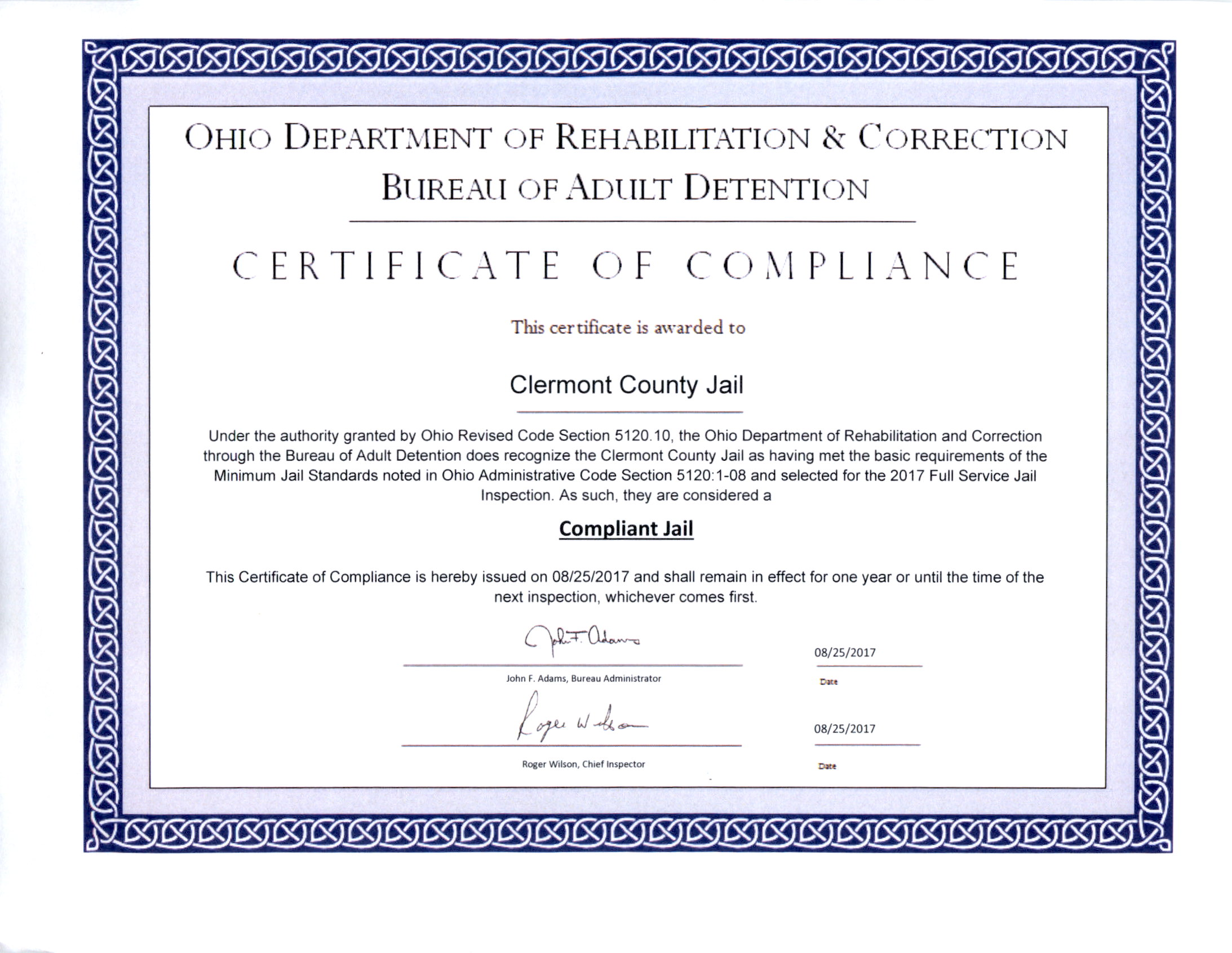 Today We Received Our Certificate Of Compliance From The Ohio