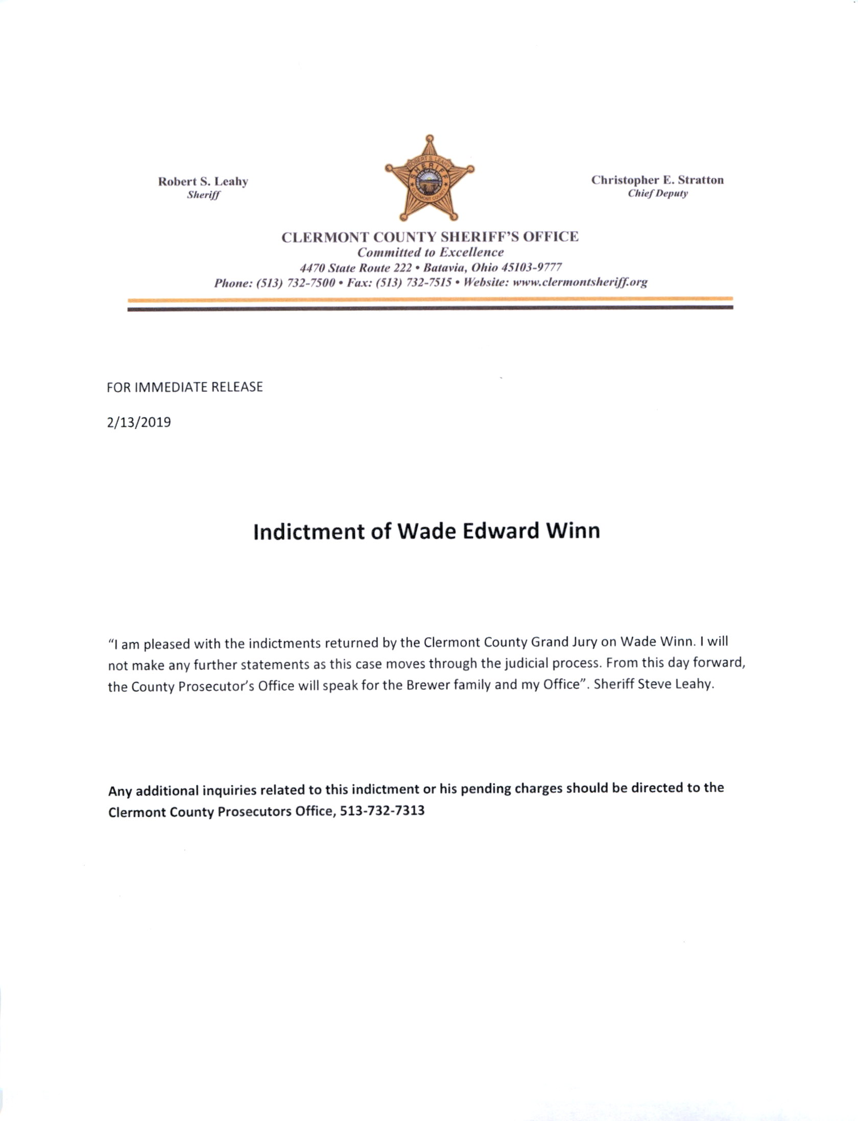 Indictment of Wade Edward Winn | Clermont County Sheriff