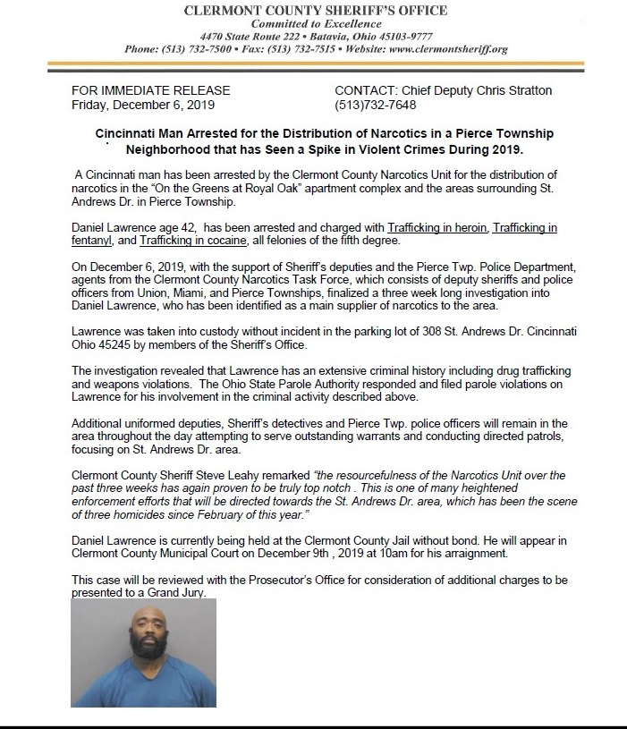 Cincinnati Man Arrested For Distribution Of Narcotics In Pierce Township Clermont County Sheriff